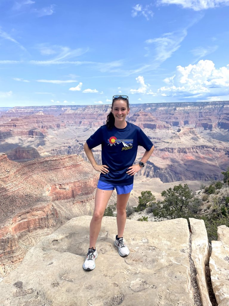 Image of Sydney Runkle at The Grand Canyon rim in 2021. Sydney participated in a Fenris internship this spring and summer.