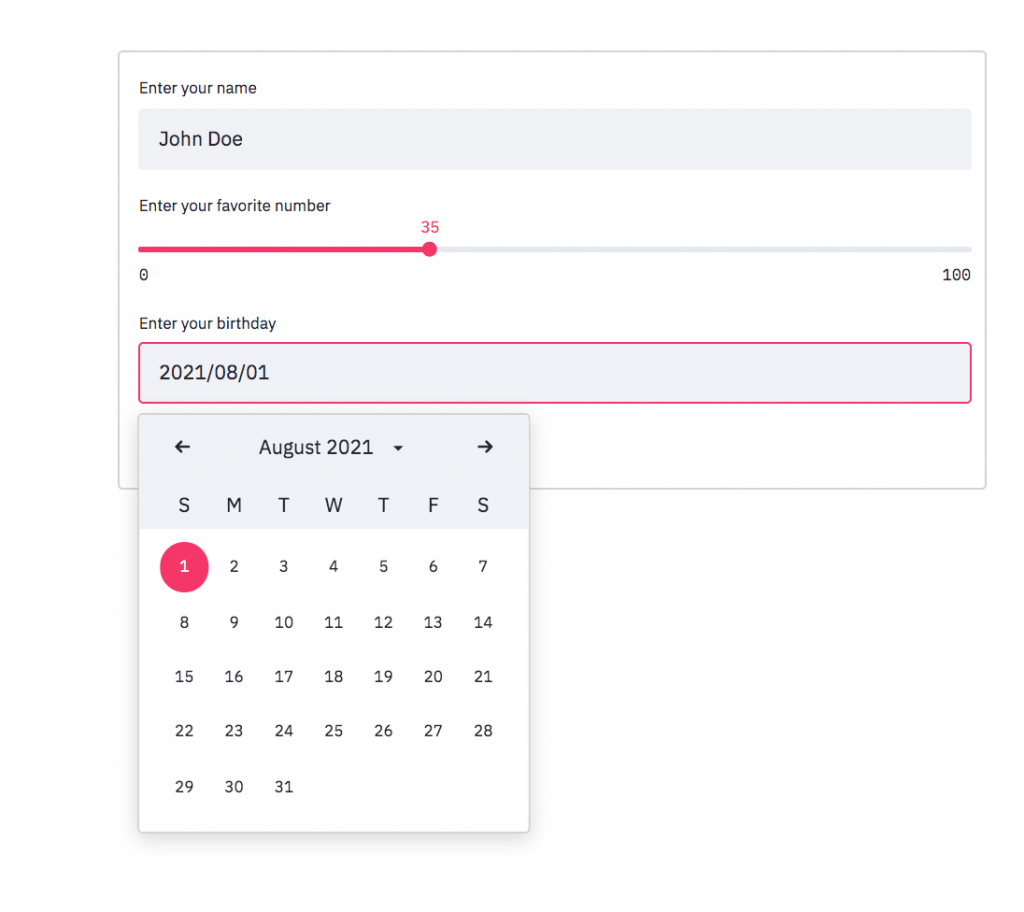 A Streamlit input form with space for text name input, slider numerical input, and calendar date input. The image uses Streamlit standard theming.